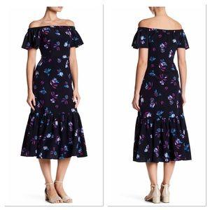 Rebecca Taylor Navy Off Shoulder Floral Dress 6
